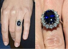 2.53 CT. Oval Blue Sapphire Diana Princess Engagement Ring 925 Sterling Silver
