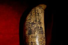 "Faux-scrimshaw tooth  ""Horatio Nelson""  and the ""Victory""  8.5 inch tall... 500g"