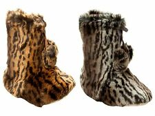 WOMENS DUNLOP FAUX FUR LINED WARM COSY BOOTIES SLIPPERS BOOTS LADIES UK SIZE 3-8