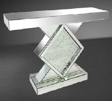 Contemporary Mirrored Venetian Glass Floating Crystal Pedestal Console Table