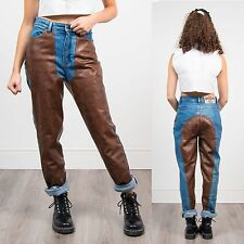 WOMENS VINTAGE 90'S HIGH WAIST LEATHER FRONT MOM JEANS COWGIRL RETRO CHAPS 12