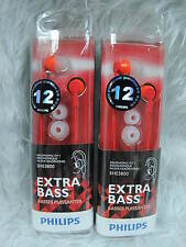 2 X Philips SHE3800RD In-Ear Headphones Extra bass SHE3800 Red * 2 pcs