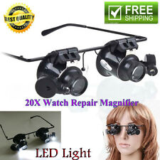Eye 20xMagnifying Magnifier Glasses Loupe Len Jeweler Watch Repair LED Light Hot