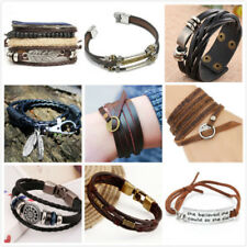 Infinity Love Anchor Leather Cute Charm Stainless Steel Cuff Bracelet Wristband