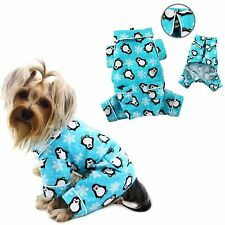 DOG CLOTHES VERY CUTE PAJAMAS PJ PENGUINS TURQUOISE FLANNEL FOR DOG DOGS KLIPPO