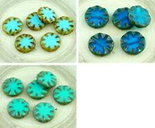4pcs Picasso Rustic Window Table Cut Flat Flower Sun Coin Round Czech Glass Bead