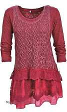 NWT Vintage Pretty Angel Clothing Ameline Two Piece Sweater In Burgundy 18715