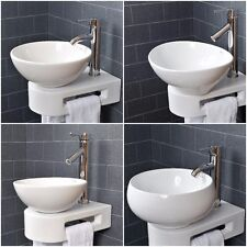 VROMA Basin Sink Bathroom Countertop Cloakroom Wall Bowl Ceramic White Art Tap