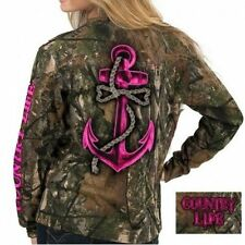 Country Life Pink Realtree Camo Anchor Bow Camouflage Girlie Long Sleeve T Shirt