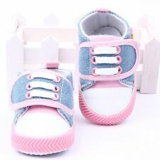 Baby Girls Canvas Shoes Toddler Pink Crib Shoes Soft Sole Bootie 0-3 6-9 9-12 UK