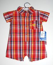 Phat Farm Infant Boys Red Plaid One-Piece SS 100% Cotton Woven Romper, Size 3-6M
