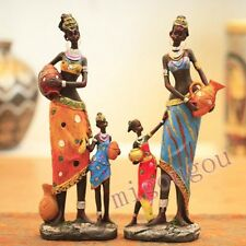 Colored Painting African Lady Child Ornament Ethnic Statue Home Figurine Decor