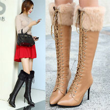 New Womens Rabbit Fur Genuine Leather Knee High Boots Lace Up High Heels Winter