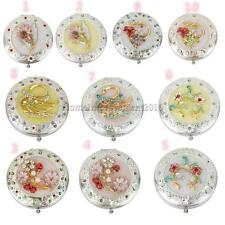 Folding Double-sided Compact Makeup Cosmetic Mirror Rhinestone Decor