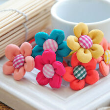 10pcs/lot Kids Baby Girls Flowers Elastic Hair Rope Ponytail Holders hair clip