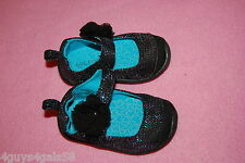 Toddler Baby Girls Shoes BLACK MARY JANES w/ FLOWER Pink Aqua Sparkls 2 3 4 5 6