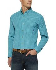 Ariat Western Shirt Stefan Fitted Men's 10014977 Mod Turquoise Plaid Long Sleeve