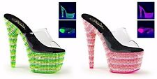 "PLEASER Bejeweled-701UV Neon Green Pink UV Reactive Clubwear Stripper 7"" Heels"