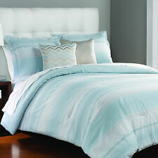 Transitional Baby Blue Cotton Striped 3-PC Comforter Set King Full/Queen New