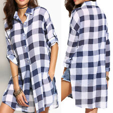 Women Ladies Long Sleeve Plaid Checked Lapel Button Trendy Blouse Shirts Tops