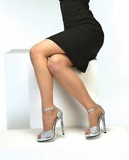 Dyeables Nori Silver Platform with Jewel Encrusted Heel, Prom, Homecoming Shoes