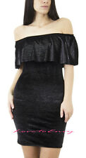 NEW LADIES OFF THE SHOULDER BARDOT FRILL NECKLINE BODYCON MINI PARTY BLACK DRESS