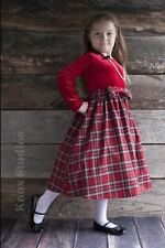 Red Plaid Christmas Dress with Red Velvet Bodice by Lito NWT Holiday