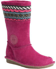 Clarks SNUGGLE LOVE Girls Berry Fuchsia Suede Boots 7 - 10 F & G Width NEW BOXED