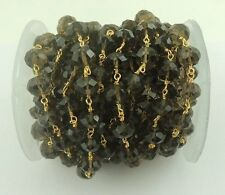 1 Feet Smoky Quartz Rondelles 24k Gold Plated Wire Wrapped Rosary Beaded Chain