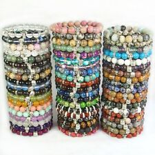 Assorted Natural Gemstone Beads Reiki Chakra Energy Stone Skull Bracelet 10mm