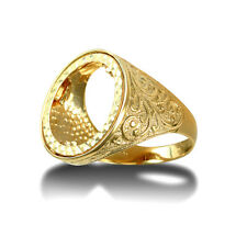 Jewelco London 9ct Gold Floral Engraved Full Sovereign Mount Ring