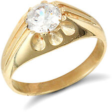 Jewelco London 9ct Gold CZ 10 Claw Solitaire Gypsy Ring
