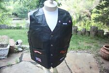 New Diamond Plate Black Buffalo Leather Biker Motorcycle Vest 11 Patches XL 2&3X