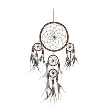 DREAMCATCHER - New!! Round: Brown suede LEATHER with coloured beads.*16cm*