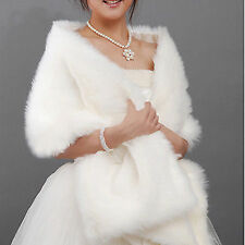 Red ivory White Faux Fur Jacket Wrap Shrug Bolero Shawl Cape Bridal Wedding