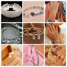 Fashion Charm Women Flower Crystal Gold Cuff Bracelet Bangle Chain Jewelry Gift