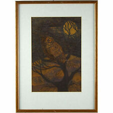 Original Acrylic Watercolour Wood Cut Painting Contemporary Owl in the Moonlight