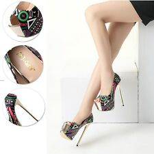 Sexy High Heel Peep Toe Platform Pump Mixed-color Stiletto Womens Clubwear Shoes
