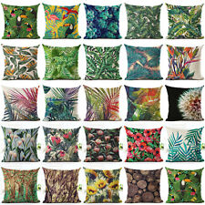 Green Tropical Plant leaves Pillow Case Cotton Linen Cushion Cover Home Decor