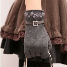 New Women's Winter Mittens Full Finger Touch Screen Gloves With Lace