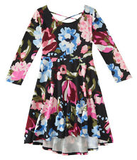 aeropostale kids ps girls' 3/4 sleeve floral hi-lo fit & flare dress black