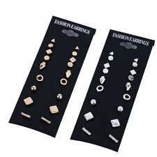 9Pairs Punk Square Triangle Round Crystal Ear Stud Unisex Earring Fashion Gifts