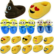 Unisex Winter Warm Emoji Minions Soft Plush Slippers Couple Home Stuffed Shoes