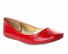 WOMENS RED PATENT FLAT DOLLY BALLET BALLERINA PUMPS SHOES LADIES UK SIZE 3-8