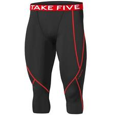 New Mens Baselayer Black Red 3/4 Capri Pants Armour Compression Tights Trousers