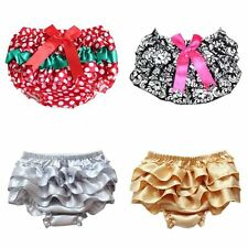 Newborn Baby Girl Ruffle PP Pants Bow Bloomers Diaper Nappy Cover Underwear 0-2T