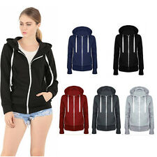 Women Winter Long Sleeve Hooded Zip Coat Fashion Fleece Outwear Warm Jacket New