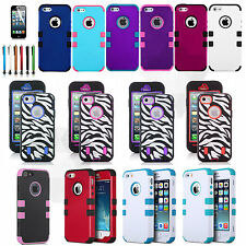 Shockproof Zebra Rugged Hybrid Matte Hard Case Cover For Apple iPhone 5 5S SE