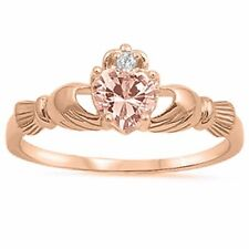 Claddagh Promise Ring Rose Gold Sterling Silver Heart Pink Morganite Clear CZ