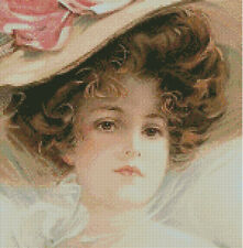 Cross stitch chart, pattern. Vintage, Woman, Curls, Retro, Victorian, Girl